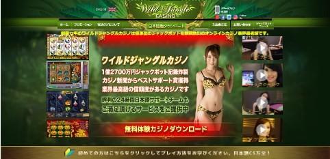 ワイルドジャングルカジノの最初の画面